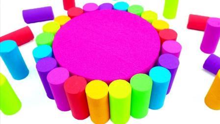 学习颜色! 太空沙百变创意DIY彩虹蛋糕, 真的美翻了