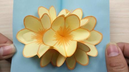 简单易学又漂亮, 元旦春节花朵贺卡, 学生作业必交亲子DIY折纸手工