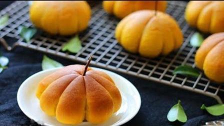 【黄金南瓜豆沙面包】包了豆沙馅, 用料简单, 美味又有营养!