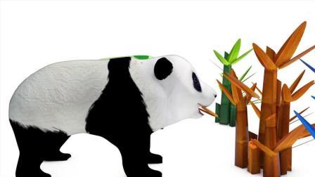 早教益智色彩英文动画: 熊猫吃彩色竹子变色后拉出西瓜, 梨, 香蕉, 桃子, 学习水果名称