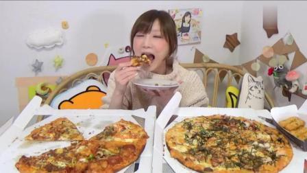 日本大胃王木下妹子挑战吃2个巨无霸的芝士披萨和炸物小吃