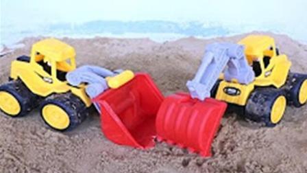 儿童工程玩具车 挖土机动画片 挖掘机工作视频 钩机工作视频 吊车视频表演 1255