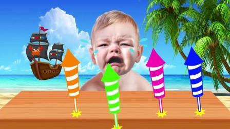 早教益智色彩英文动画: 黑猩猩拿走宝宝的烟花玩具宝宝大哭学习颜色