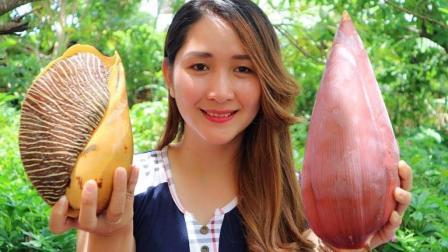 柬埔寨乡村美食: 大蜗牛和香蕉花也能煮在一起?