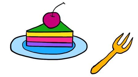 画一块七彩的生日蛋糕, 教小朋友简笔画学画画, 育儿早教颜色益智启蒙, 亲子绘画美术教程