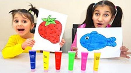 趣味启蒙早教! 小萝莉水彩笔画草莓香蕉和小鱼, 学习颜色