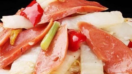 粗纤维润肠又营养, 家常小菜白菜梗炒香肠的做法