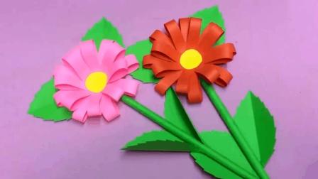 简易幼儿小手工, 教你怎么一步步折纸diy两朵美丽花朵