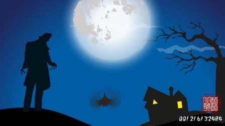 【原创】我制作的二维小动画视频~夜晚月光吸血鬼与黑蝙蝠~