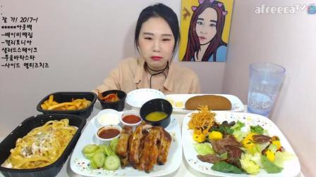 韩国大胃王卡妹吃加州芝士面、沙拉、牛肋排等美食