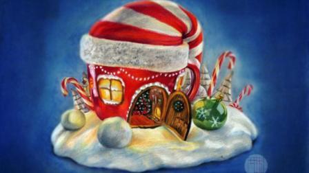 彩铅画基础教程—圣诞屋 下