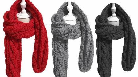 双排扭麻花围巾编织-羊咩咩手工编织
