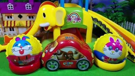 熊出没之熊大熊二一起玩采蘑菇奇趣蛋玩具视频早教益智亲子游戏