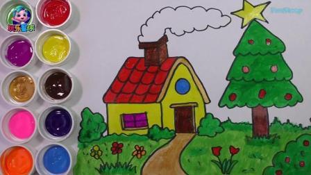 玩乐手工课 早教画画之简笔画学习:画房子烟囱圣诞树