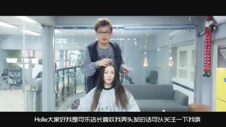 妹纸长发中分 发型师帮她设计个八字刘海后 气质整个感觉不一样了
