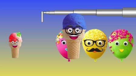 益智启蒙英文动画: 蛋糕气球里藏着冰淇淋学习颜色唱手指家庭歌曲