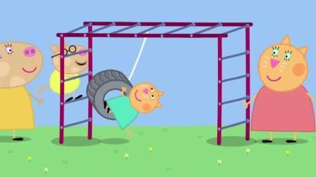 公园里新建的游乐场 各种游乐设施应有尽有 佩奇贼鸡儿开心