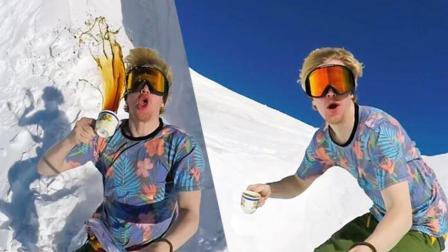 还有这种操作? 滑雪逗比一边玩单板一边喝咖啡