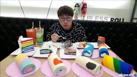 韩国大胃王大叔, 吃用动物奶油制作的蛋糕卷6种+彩虹蛋糕7种+2个冰淇淋