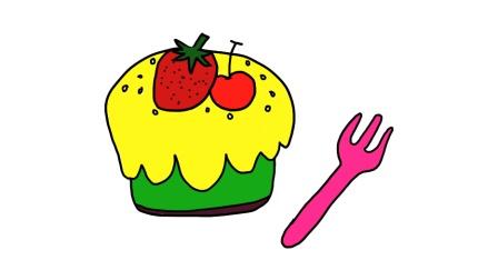 草莓樱桃生日蛋糕, 简笔画水果蛋糕! 今天生日的祝你们生日快乐! 不是的也祝你们天天快乐!