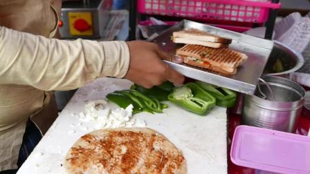 印度街头食品 - 快速制作的土豆夹心奶酪三明治 - 印度