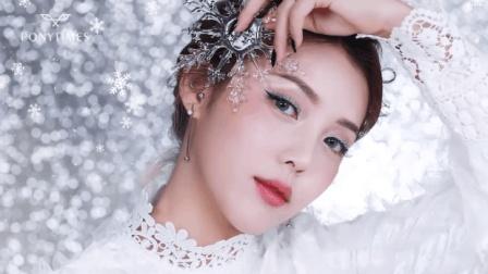 用薇姿NYX产品打造的冬日雪花妆, 亮片的点缀是重点!