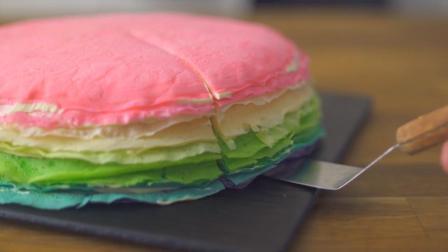 吃货福利,彩虹千层蛋糕,超级好看