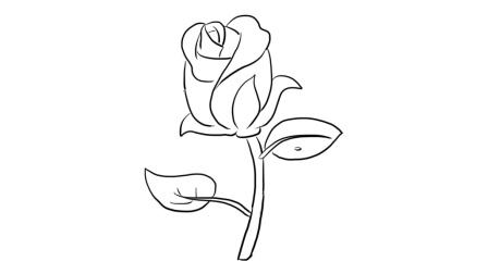 含苞待放的玫瑰花儿童亲子简笔画 宝宝轻松学画画