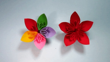 简单的手工折纸花 美丽的五彩樱花折纸教程3分钟轻松就能学会