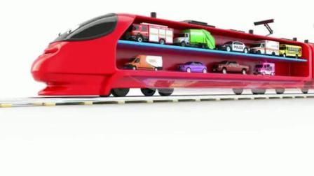 红色的火车拉小汽车玩具动画视频87