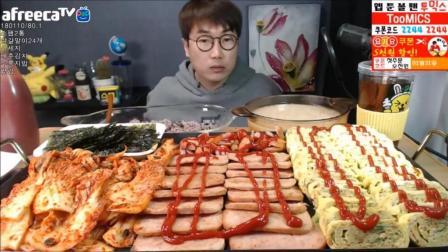 韩国大胃王大叔, 夜宵一顿饭吃2桶午餐肉、鸡蛋卷24个、白菜泡菜、火腿肠、锅巴饭、汤