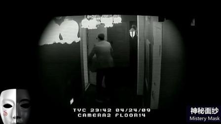 监视器实拍灵异事件 门后藏着一个女鬼
