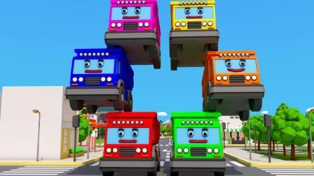 大卡车放对积木的位置打开车库的门 3D动画早教