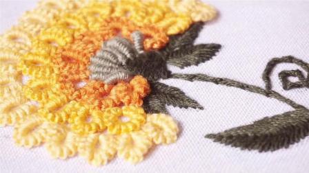 手工刺绣: 漂亮的野菊花, 刺绣针法与手工绳编织雷同啊