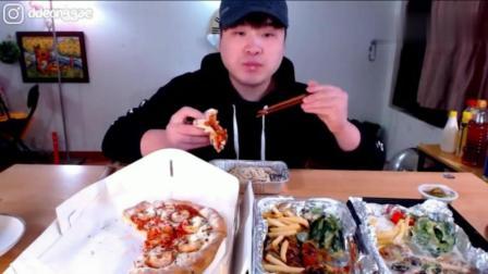 韩国大胃王豪放派donkey弟弟吃鲜虾披萨和香肠什锦意大利面
