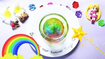 无硼砂自制史莱姆, 魔法彩虹水晶泥, 它能给你带来好运噢