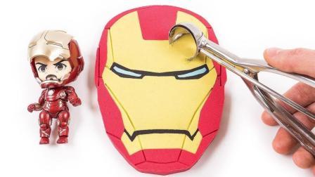 如何做动力沙奇迹铁人脸蛋糕 学习颜色超级英雄美国太空沙玩法万圣节南瓜【俊和他的玩具