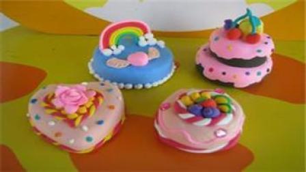 橡皮泥手工制作视频 玩具视频橡皮泥手工制作 黄桃三角夹层蛋糕 亲子游戏