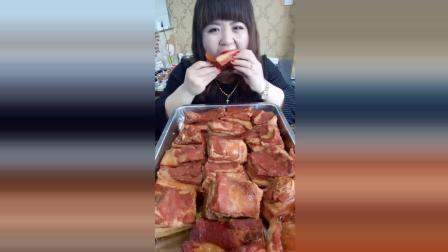 红烧五花肉美食小吃, 漂亮吃货姐姐, 这么多能一顿吃完吗