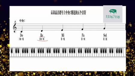 """【久音盒钢琴】成人0基础钢琴入门: 五线谱中高音谱号""""中央C""""附近的五个音符"""