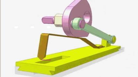 直观的机械原理, 这是一个凸轮和曲柄滑块机制, 让你一目了然