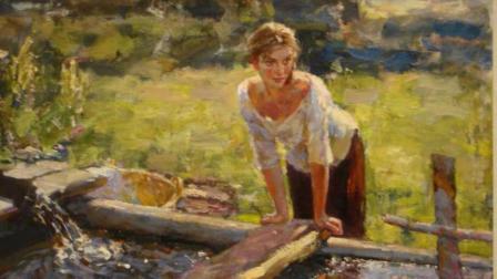 俄罗斯风景油画欣赏, 阳光还有少女, 已经感受到浓浓的春天的气息!