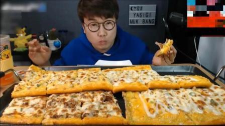韩国大叔一人挑战吃一米的超大型披萨, 真是太能吃了