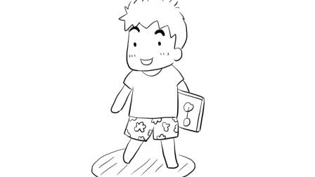 简单可爱的小男生儿童亲子简笔画