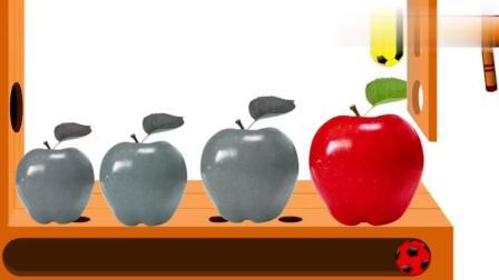 早教色彩启蒙英语: 好吃的大苹果被彩色的足球砸变了色彩