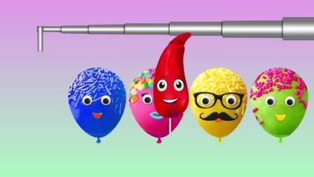 益智启蒙色彩动画: 蛋糕气球里藏着五颜六色的西葫芦, 学习颜色