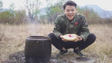 农村小伙用米缸做腊肠披萨, 花费不到100块钱, 开心极了!