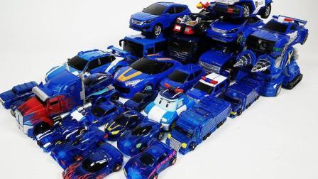 蓝色机器人变身玩  超级变形金刚 斗龙战士 托宝兄弟 变形警车珀利魔幻车神 ★垣垣玩具