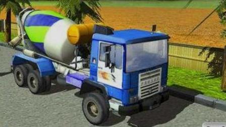 汽车总动员之极速的水泥搅拌车 大卡车家族飞车大表演 水泥搅拌车工作视频