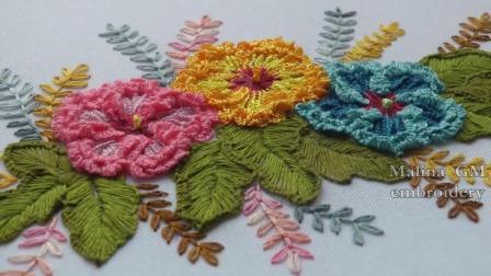 手工刺绣: 三朵漂亮的小花, 无聊的时候缝一下